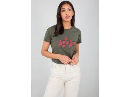 Alpha Industries FLOCK FLOWER T Wmn dark olive dámske tričko e