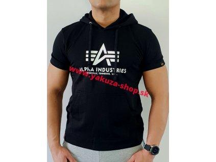 Alpha Industries BASIC T HOODED black tričko pánske