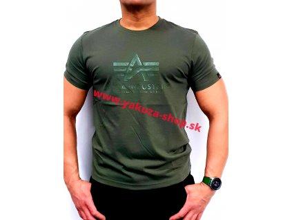 Alpha Industries VINYL LOGO T dark olive tričko pánske