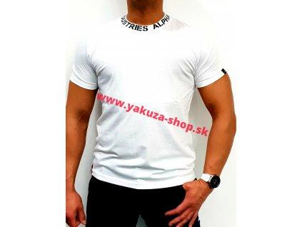Alpha Industries NECK PRINT T white tričko pánske