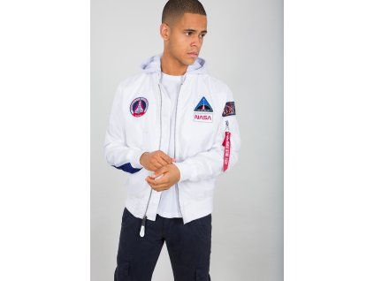 Alpha Industries MA 1 TT Hood NASA bunda pánska white