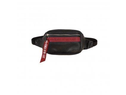 Alpha Industries RBF LEATHER WAIST BAG black red kožená ľadvinka taška g