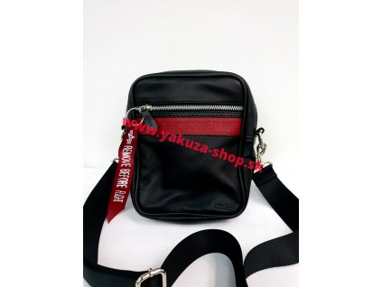 Alpha Industries RBF LEATHER MESSENGER BAG black/red kožená taška na rameno