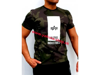 Alpha Industries BLOCK LOGO T dark olive camo tričko pánske