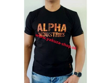 Alpha Industries Camo Print T Black/Orange tričko pánske