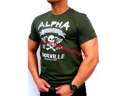 Alpha Industries Skull T dark olive tričko pánske