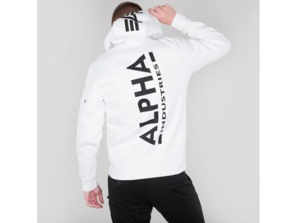 Alpha Industries Back Print Hoody pánska mikina white