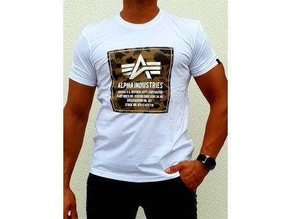 Alpha Industries CAMO BLOCK T white tričko pánske