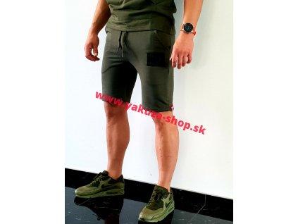 Alpha Industries RUBBER PATCH Short dark olive pánske šortky