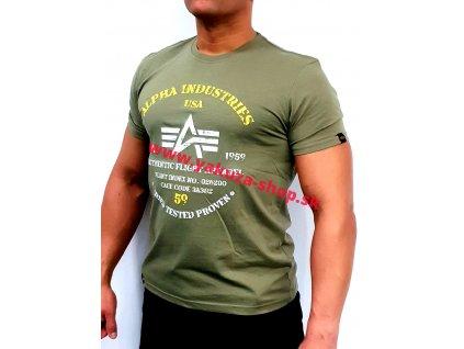 Alpha Industries AUTHENTIC PRINT T olive tričko pánske