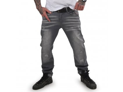 Yakuza pánske jeansy DESTROYER STRAIGHT JEANS CPB 15044 grey havoc