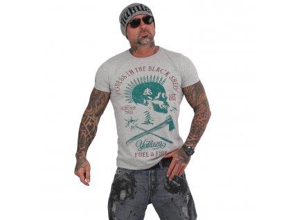 Yakuza BLACK SHEEP tričko pánske TSB 15029 hellgrau meliert