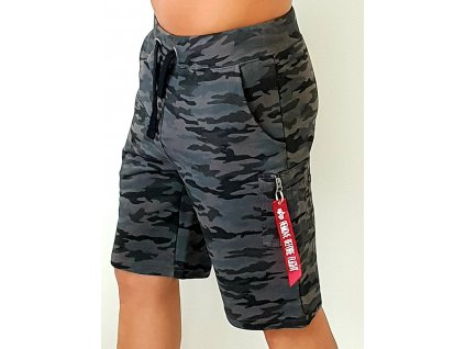Alpha Industries X-Fit Cargo Short black Camo pánske šortky