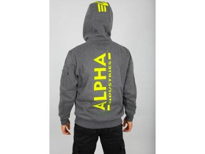Alpha Industries Back Print Hoody pánska mikina charcoal