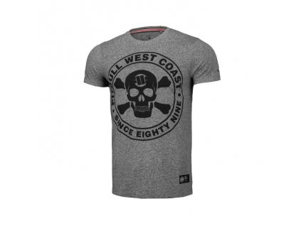 PitBull West Coast tričko pánske FIT SKULL grey melange