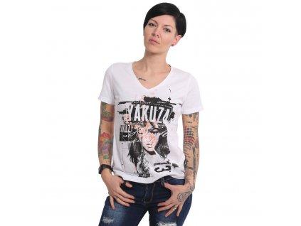 Yakuza MY KNIFE V NECK dámske tričko GSB 16122 white