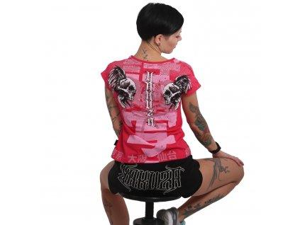 Yakuza SICK NIPPON V NECK dámske tričko GSB 16126 rose red
