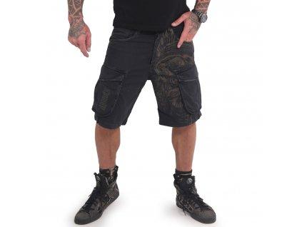 Yakuza cargo šortky INDIAN SKULL CARGO CSB 16049 black