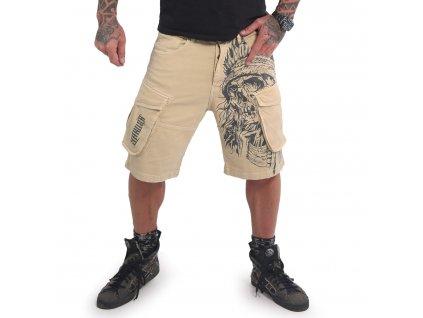 Yakuza cargo šortky INDIANSKULL CARGO CSB 16049 sand