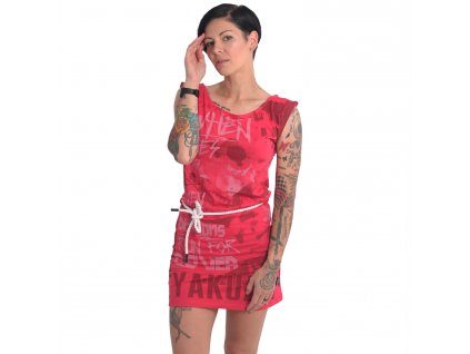 Yakuza dámske šaty RUN FOR COVER ALLOVER DRESS GKB 16151 rose red