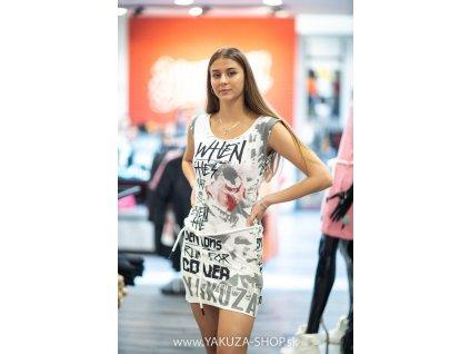 Yakuza dámske šaty RUN FOR COVER ALLOVER DRESS GKB 16151 white d