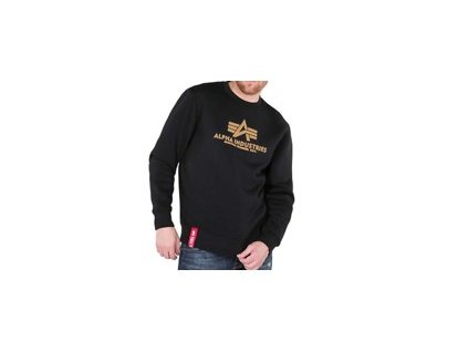 Alpha Industries mikina Basic Sweater black/gold