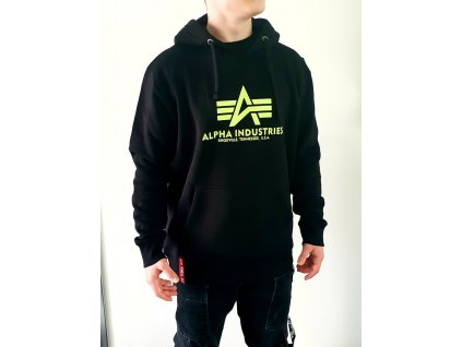 Alpha Industries Basic Hoody pánska mikina black/neon yellow