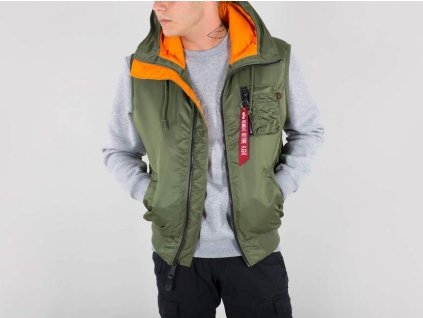 Alpha Industries vesta Hooded MA-1 Vest Sage Green