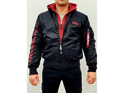 Alpha Industries zAlpha Industries zimná bunda MA 1 D Tec SE black red