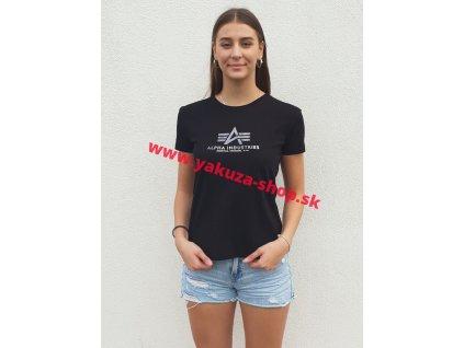 Alpha Industries New Basic T Wmn Alpha Industries New Basic T Wmn Foil Print Black Metal dámske tričko a