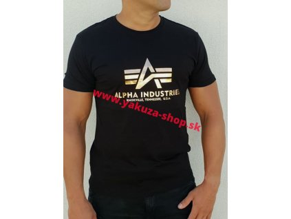 Alpha Industries Basic T Shirt Foil Print Black Gold tričko pánske