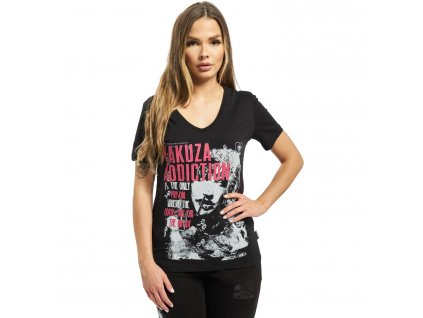 Yakuza ADDICTION V NECK dámske tričko GSB 16123 black f