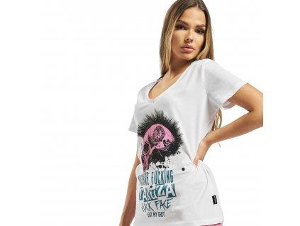 Yakuza MASSIVE V NECK dámske tričko GSB 16125 white e