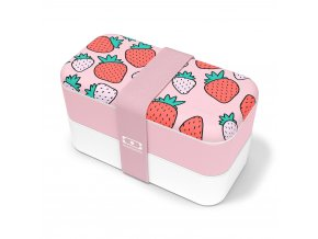 1 obedovy box monbento original strawberry ruzovo bila