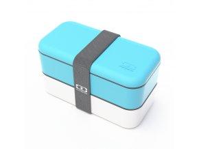 1 obedovy box monbento original modro bily