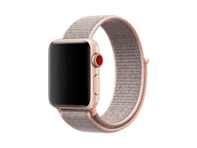 jemne ruzovy provlekaci reminek na suchy zip pro apple watch