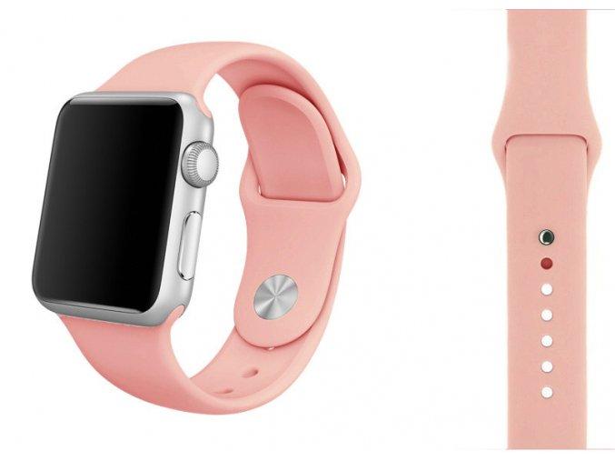 Růžový silikonový řemínek pro Apple Watch 42, 44 a 45 mm