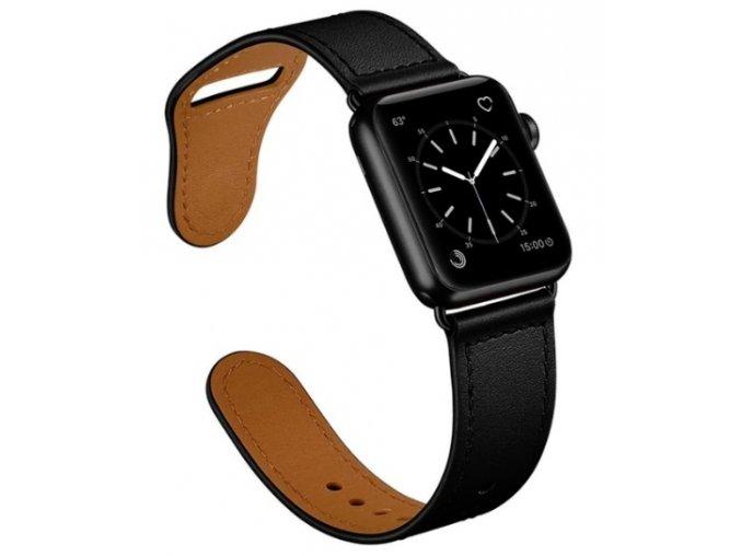 kozeny reminek pro apple watch se zapinanim na kolicek cerny