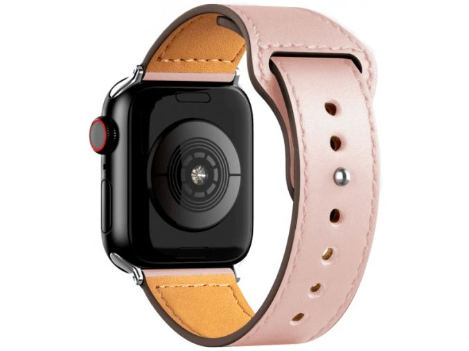 kozeny reminek pro apple watch se zapinanim na kolicek ruzovy