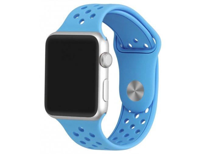svetle modry silikonovy reminek s odvetravacimi otvory pro apple watch 01