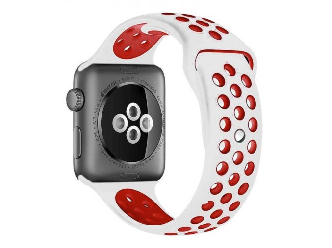 bilocerveny silikonovy reminek pro apple watch