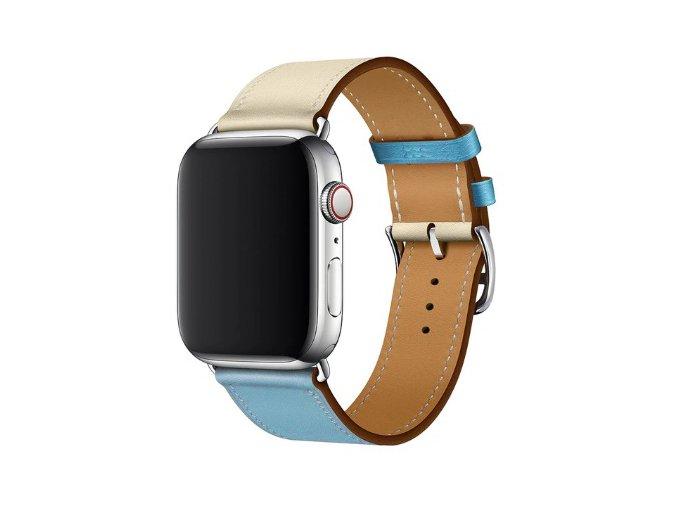 kozeny reminek pro apple watch s dvojitou ocelovou prezkou svetlemodrabila