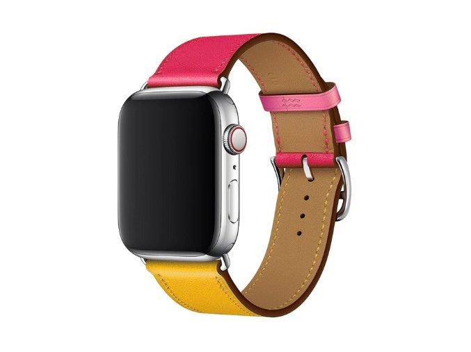 kozeny reminek pro apple watch s dvojitou ocelovou prezkou ruzovozluty