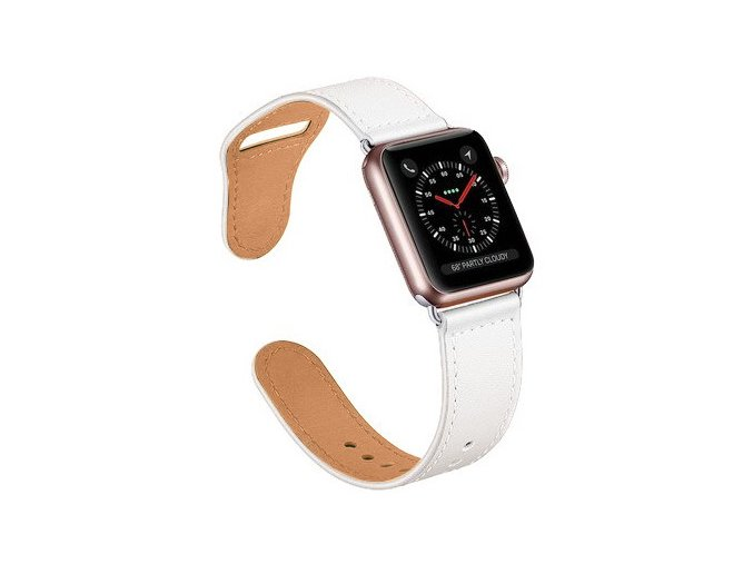 kozeny reminek pro apple watch se zapinanim na kolicek bily