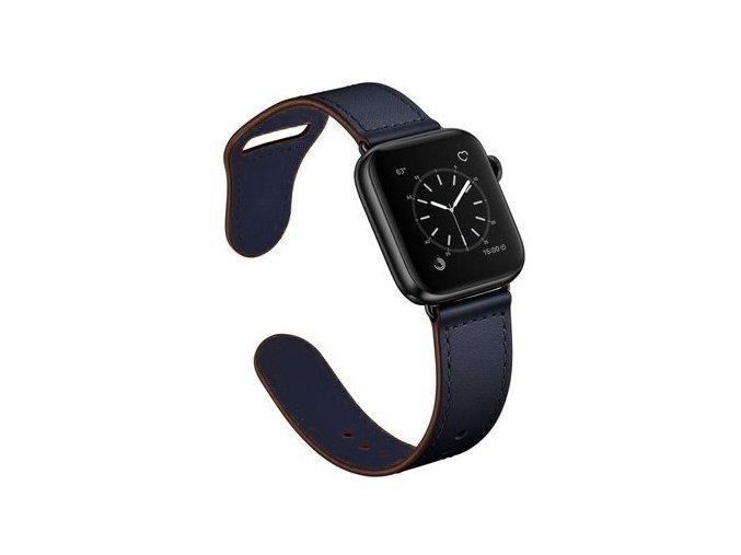 kozeny reminek pro apple watch se zapinanim na kolicek temne modry