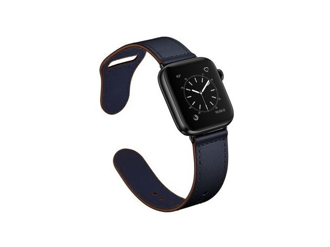 kozeny reminek pro apple watch se zapinanim na kolicek temne modry