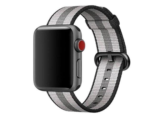cernosedy pruhovany tkany nylonovy reminek pro apple watch