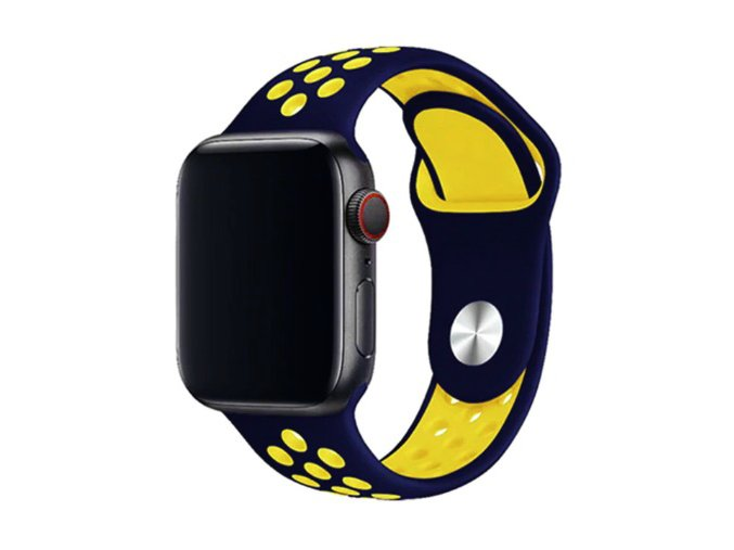 temnemodrozluty silikonovy reminek pro apple watch 2