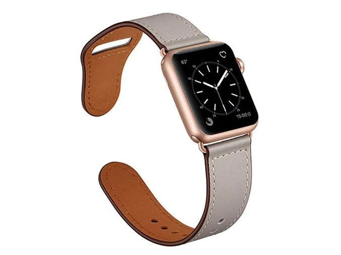 kozeny reminek pro apple watch se zapinanim na kolicek sedy
