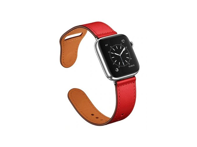 kozeny reminek pro apple watch se zapinanim na kolicek cerveny